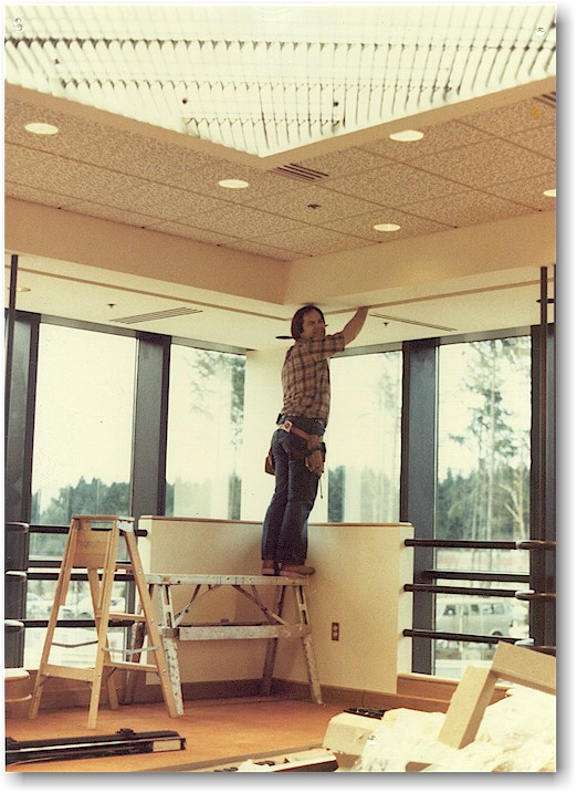 Kurt installing motorized skylights and audio-visual blinds at Boeing Computer Center in Eastgate in 1982.